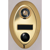 Auth Door Chime w/1 Way Wide Angle Viewer & Name Plate - Anodized Gold