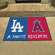 """Fan Mats MLB - Los Angeles Dodgers/Los Angeles Angels House Divided Mat, 33-3/4"""" x 42-1/2"""" - 12250"""