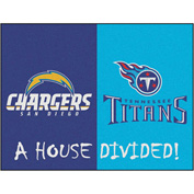 "Fan Mats NFL - San Diego Chargers - Tennessee Titans House Divided Rugs 34"" X 45"" - 14117"