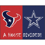 "Fan Mats NFL - Houston Texans/Dallas Cowboys House Divided Rugs 34"" X 45"" - 15556"
