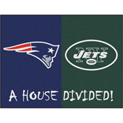 "Fan Mats NFL - New England Patriots/New York Jets House Divided Rugs 34"" X 45"" - 15558"