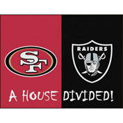 "Fan Mats NFL - San Francisco 49Ers/Oakland Raiders House Divided Rugs 34"" X 45"" - 15559"