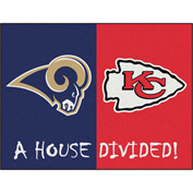 "Fan Mats NFL - Los Angeles Rams/Kansas City Chiefs House Divided Rugs 34"" X 45"" - 15560"