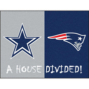"Fan Mats NFL - Dallas Cowboys/New England Patriots House Divided Rugs 34"" X 45"" - 15595"