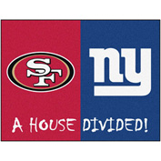 "Fan Mats NFL -San Francisco 49Ers/New York Giants House Divided Rugs 34"" X 45"" - 15596"