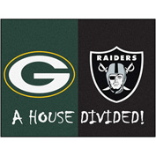 "Fan Mats NFL - Green Bay Packers/Oakland Raiders House Divided Rugs 34"" X 45"" - 15648"