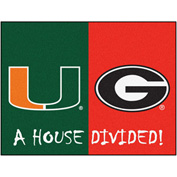"Fan Mats Miami Hurricanes/Georgia Bulldogs House Divided Rugs 34"" X 45"" - 15670"