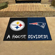 """Fan Mats NFL - Pittsburg Steelers/New England Patriots House Divided Mat, 33-3/4"""" x 42-1/2"""" - 19245"""