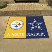 """Fan Mats NFL - Pittsburg Steelers/Dallas Cowboys House Divided Mat, 33-3/4"""" x 42-1/2"""" - 19316"""