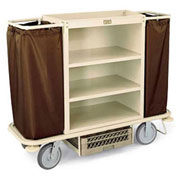 Forbes Steel Housekeeping Cart with Under Deck Shelf, Beige - 2107-BE