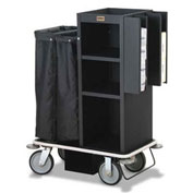 Forbes Steel Compact Guest Room Attendant Housekeeping Cart, Black - 2110-EN