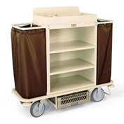 Forbes Steel Housekeeping Cart w/Under Deck Shelf & Organizer, Beige - 2148-BE