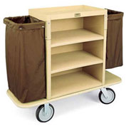 Forbes Plastic Housekeeping Cart, Tan - 2193-36-TN