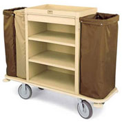 Forbes Plastic Housekeeping Cart with Three-Bag Style, Tan - 2197-TN