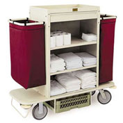 "Forbes Plastic Housekeeping Cart w/Under Deck Shelf & Drawer, 42""H Beige - 2200-42-BE"