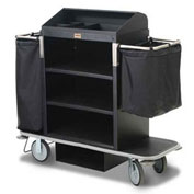 Forbes Plastic Guest Room Attendant Cart w/Under Deck Shelf & Organizer, Black - 2220-EN