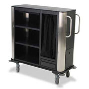 Forbes Plastic Suite Cart w/Stainless Steel Corners & Handles, Black - 2279-EN