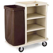 "Forbes Plastic Housekeeping Cart with 5"" Wheels, Beige - 2291-BE"