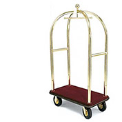 "Forbes Birdcage Bellman Cart 2421-BU-BN Brass, Burgundy Carpet, Brown Bumper, 8"" Pneumatic"