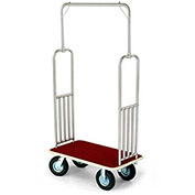 "Forbes Standard Bellman Cart 2487-RD-BE Stainless, Red Carpet, Beige Bumper, 8"" Pneumatic"