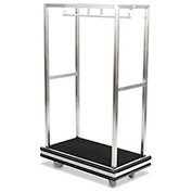 "Forbes Deluxe Bellman Cart 2505DB-SS-BK-BK Stainless Steel, Black Carpet, Black Bumper, 8"" Rubber"