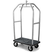 "Forbes Deluxe Bellman Cart 2510-DT-GY-BK Stainless, Gray Carpet, Black Bumper, 8"" Pneumatic"