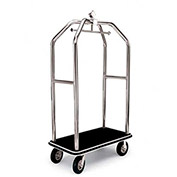 "Forbes Deluxe Bellman Cart 2510-BK-BK Stainless, Black Carpet, Black Bumper, 8"" Pneumatic"