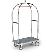 "Forbes Birdcage Bellman Cart 2519-GY-GY Stainless, Gray Carpet, Gray Bumper, 8"" Rubber"