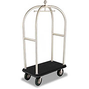 "Forbes Birdcage Bellman Cart 2521-SS-BK-BK Stainless, Black Carpet, Black Bumper, 8"" Pneumatic"