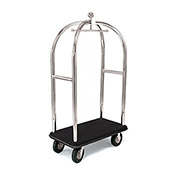 "Forbes Birdcage Bellman Cart 2521-BK-BK Stainless, Black Carpet, Black Bumper, 8"" Pneumatic"