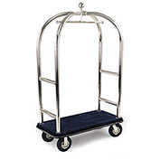 "Forbes Birdcage Bellman Cart 2523-BL-BK Stainless, Blue Carpet, Black Bumper, 8"" Pneumatic"