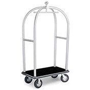 "Forbes Birdcage Bellman Cart 2525-DT-BK-BK Stainless, Black Carpet, Black Bumper, 8"" Pneumatic"