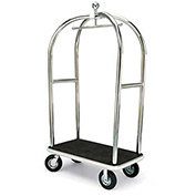 "Forbes Birdcage Bellman Cart 2525-BK-GY Stainless, Black Carpet, Gray Bumper, 8"" Pneumatic"