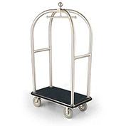"Forbes Birdcage Bellman Cart 2526-SS-BK-BK Stainless, Black Carpet, Black Bumper, 8"" Rubber"