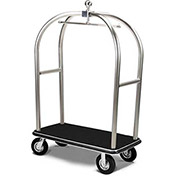 "Forbes Birdcage Bellman Cart 2528-PDT-BK-BK Stainless, Black Carpet, Black Bumper, 8"" Pneumatic"