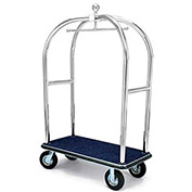 "Forbes Birdcage Bellman Cart 2528-SS-BL-BK Stainless, Blue Carpet, Black Bumper, 8"" Pneumatic"