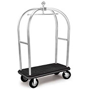 "Forbes Birdcage Bellman Cart 2537-DT-BK-GY Stainless, Black Carpet, Gray Bumper, 8"" Pneumatic"