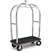 "Forbes Birdcage Bellman Cart 2537-BK-GY Stainless, Black Carpet, Gray Bumper, 8"" Pneumatic"