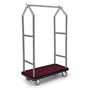 "Forbes Deluxe Bellman Cart 2543-DT-BU-BN, Stainless, Burgundy Carpet, Brown Bumper, 8"" Rubber"