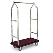"Forbes Deluxe Bellman Cart 2543-BU-BN, Stainless, Burgundy Carpet, Brown Bumper, 8"" Rubber"