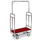 "Forbes Standard Bellman Cart H1210-5C-RD-GY Chrome, Red Carpet, Gray Bumper, 8"" Rubber"