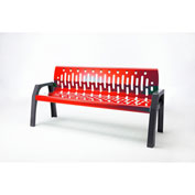 Frost Stream 6' Steel Bench, Red with Gray Frame