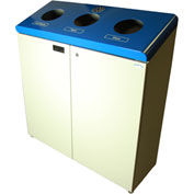 Frost Free Standing Three Stream Recycling Station, Blue and Gray Finish, 316