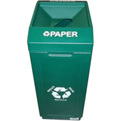 Forte 39 Gallon Open Top Plastic Recycle Bin - Paper, Green - 8001837