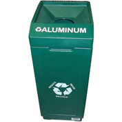 Forte 39 Gallon Open Top Plastic Recycle Bin - Aluminum, Green - 8001841