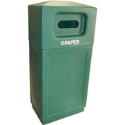 Forte 39 Gallon Hooded Top Plastic Recycle Bin - Paper, Green - 8001846