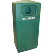 Forte 39 Gallon Hooded Top Plastic Recycle Bin - Aluminum, Green - 8001850
