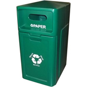 Forte 42 Gallon Enclosed Top Plastic Recyle Bin w/Pull Out Bin - Paper, Green - 8001953