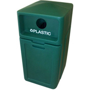 Forte 42 Gallon Enclosed Top Plastic Recyle Bin w/Pull Out Bin - Plastic, Green - 8001954