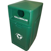 Forte 42 Gallon Enclosed Top Plastic Recyle Bin w/Pull Out Bin - Aluminum, Green - 8001955